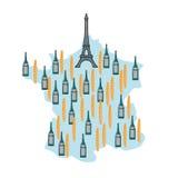 Karte von Frankreich mit Eiffelturm in Paris Nationales französisches Lebensmittel: Lizenzfreie Stockfotografie