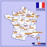 Karte von Frankreich mit französischen Regionen Vektor Stockfoto