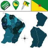 Karte von Französisch-Guayana mit genannten Kommunen lizenzfreie abbildung
