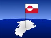 Karte von Grönland mit Markierungsfahne Lizenzfreie Stockfotos