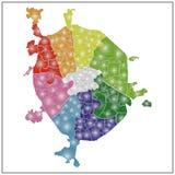 Karte von Grafschaften und von Bezirken der Stadt Moskau Stockfotos
