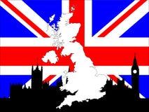 Karte von Großbritannien auf britischer Markierungsfahne Stockfoto
