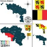 Karte von Hainaut, Belgien Lizenzfreies Stockbild