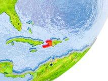 Karte von Haiti auf Erde Stockbilder