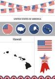 Karte von Hawaii Satz flacher Designikonen nfographics Elementesprit Stockbilder