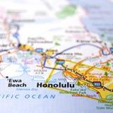 Karte von Honolulu stockbilder