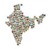 Karte von Indien - Collage gebildet von den Reisenfotos Stockbilder