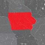 Karte von Iowa mit Seen und Flüssen Stockbilder