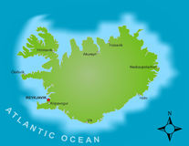 Karte von Island lizenzfreies stockbild