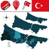 Karte von Istanbul mit Bezirken Stockfotos