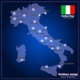 Karte von Italien mit Großstädten in der Nacht Vektor Lizenzfreies Stockfoto