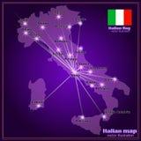 Karte von Italien mit Großstädten in der Nacht Vektor Lizenzfreie Stockbilder