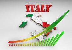 Karte von Italien mit Markierungsfahne Stockfotografie