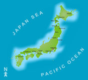 Karte von Japan lizenzfreie stockfotografie