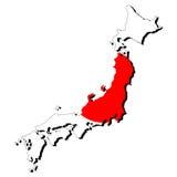 Karte von Japan mit Markierungsfahne Lizenzfreies Stockfoto