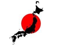 Karte von Japan und von japanischer Markierungsfahne Lizenzfreies Stockfoto