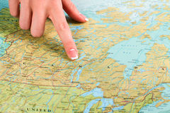 Karte von Kanada im Atlas Stockfotografie