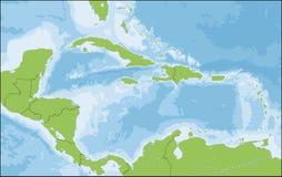 Karte von Karibischen Meeren Stockfotos
