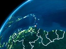 Karte von Karibischen Meeren nachts lizenzfreies stockfoto