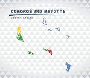 Karte von Komoren und Mayotte mit Hand gezeichnetem Skizzenstift zeichnen nach innen auf Auch im corel abgehobenen Betrag stock abbildung