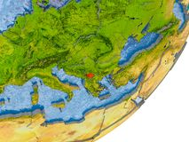 Karte von Kosovo auf Erde Lizenzfreies Stockbild