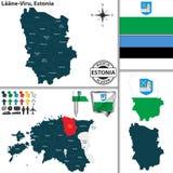Karte von Laane Viru, Estland Stockfotos