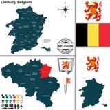 Karte von Limburg, Belgien Lizenzfreies Stockfoto