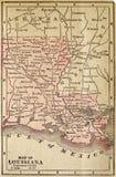 Karte von Louisiana Stockfotos