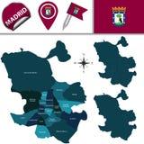 Karte von Madrid mit Bezirken Stockfoto
