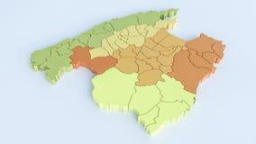 Karte von Mallorca mit allen Bereichen In hohem Grade ausführliche Wiedergabe 3D vektor abbildung