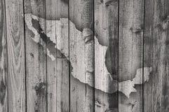 Karte von Mexiko auf verwittertem Holz Stockbilder