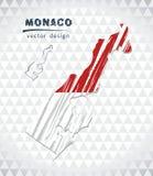 Karte von Monaco mit Hand gezeichneter Übersichtskarte nach innen Auch im corel abgehobenen Betrag Stockbilder