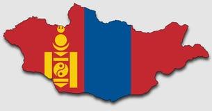 Karte von Mongolei, gefüllt mit der Staatsflagge vektor abbildung