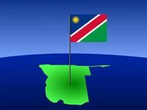 Karte von Namibia mit Markierungsfahne Stockfoto