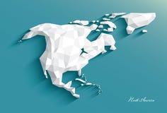 Karte von Nordamerika Abstrakte weiße polygonale Art Vektor vektor abbildung