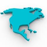 Karte von Nordamerika - Blau Lizenzfreies Stockbild