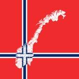 Karte von Norwegen mit Seen und Flüssen Lizenzfreie Stockfotografie