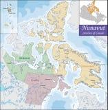 Karte von Nunavut Stockbilder