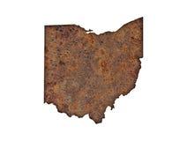 Karte von Ohio auf rostigem Metall lizenzfreie stockfotos