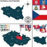 Karte von Pardubice, Tschechische Republik Stockfoto