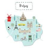 Karte von Paris in Frankreich lizenzfreie abbildung