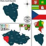 Karte von Plzen, Tschechische Republik Lizenzfreies Stockbild