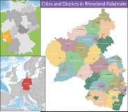 Karte von Rheinland-Pfalz Stockbilder