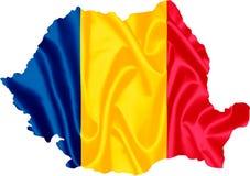 Karte von Rumänien mit Markierungsfahne lizenzfreies stockfoto