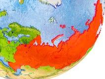 Karte von Russland auf Erde Lizenzfreies Stockfoto