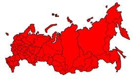 Karte von Russland einzeln aufgeführt - Rot Lizenzfreie Stockfotos