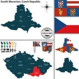 Karte von Süd-Moravian, Tschechische Republik Stockfotografie