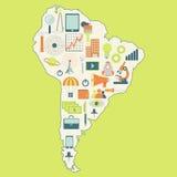 Karte von Südamerika mit Technologieikonen Stockfotografie