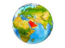 Karte von Saudi-Arabien auf der Erde 3D lokalisiert lizenzfreie stockbilder