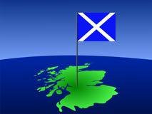 Karte von Schottland mit Markierungsfahne Stockfoto